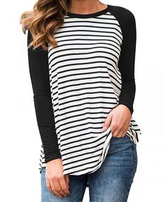 14bce3b629 Shop Womens Blouses Striped Shirts Long Sleeve Round Neck Patchwork Casual  Tops - Black - CP180Q4S88H