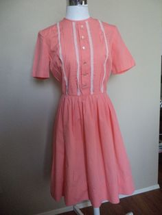1950s Coral Cotton Shirtwaist Dress with Tucks Lace & Button Trim Small