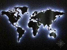 beleuchtete Weltkarte Wand Dekoration aus Edelstahl RBG LED DIY