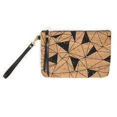 """One bag, two looks. The Cork & Leather Wristlet is equal parts chic and laid-back, with cork on one side and leather on the other. Fully reversible, this wristlet is ready for anything!   Other features include:  Real cork fabric. Cork is durable & easy to clean. Genuine gold leather  7"""" detachable leather wrist strap Smooth metal zipper with leather zipper pull Soft micro fiber liner 7"""" H x 10"""" W x 0.5"""" D"""