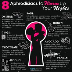 Natural Aphrodisiacs to Spice Up Your Sex Life! Simple and easy ways to improve your love life with your partner. http://www.engineeredlifestyles.com/blog/relationships/5-outstanding-natural-aphrodisiacs-for-women/ #aphrodisiac #sex