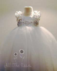 Dupioni silk dress with crystal sash and double ruffle sleeve -- gorgeous christening gown, flower girl..... just the top