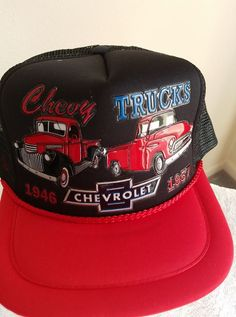 Chevy Trucks -1946   1957 in 3-D graphics on a Black Mesh w red bill ball  cap ec455611bcb