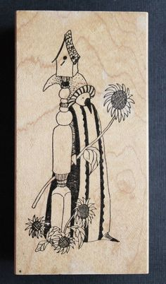 "Rubbermoon ""LADYBIRD"" Bird Birdhouse Sunflowers Flowers Jane Cather Rubber Stamp #Rubbermoon"