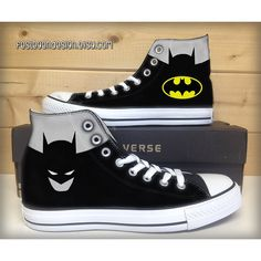 Batman Custom Converse / Painted Shoes ($65) ❤ liked on Polyvore featuring shoes, converse, batman, lucite shoes, converse footwear, converse shoes, water resistant shoes and acrylic shoes