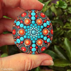 Stone Mandala dot kunst geschilderd steen geschilderde