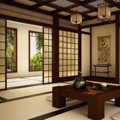 Furniture : Japanese Room With Awesome Decorating Featuring Espresso Wood Sliding Door With White Rug Floor And Wood Table Together Stripe Floor Cushion And Classic Japanese Pendant Lamp - Interior Japanese Room Design
