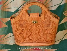Vintage Mexican Tooled Leather Bag by EsperanzaVintage on Etsy, $62.00