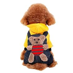 Pet Puppy Dog Bear Hoodie Jumpsuit Outwear for Small and Medium Breeds by PrettyPet! Durable Pet Autumn Winter Apparel. Protect your four-legged friend from cold weather!ut