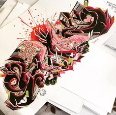 Amazing Sketches BlackBook Graffiti Letter Design With Grafffiti Wildstyle and Graffiti Red And Black Color