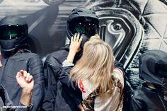 Who doesn't want to try on the Icon #Variant helmet at #Eicma ! #italy #iconmotosports #iconraiden #icon1000 #ewastunts #bikelife #motorshow #iconhelmets #iconjackets #ridinggear #iconvariant #iconghostcarbon #rider #stuntrider #femalerider #iconjersey #motogirl #leatherjacket #darkshield