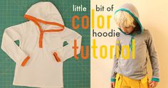 Little Bit of Color Hoodie Tutorial by madebyrae, via Flickr ~ how to add a hood to any basic T-shirt pattern (link to pattern included); full tutorial