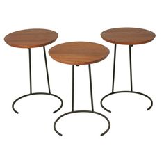 Set of 3 Wrought Iron and Walnut Stacking Tables by Jens Risom | From a unique collection of antique and modern nesting tables and stacking tables at https://www.1stdibs.com/furniture/tables/nesting-tables-stacking-tables/