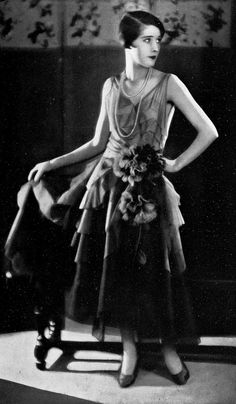 Evening gown by Jean Patou, Les Modes August 1928. Wide World Photo.