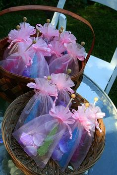 tinkerbell-party-ideas... Butterfly hair clips and cute bags