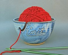 Yarn Bowl Knit in Cobalt Blue As Featured in Vogue by TheMudPlace