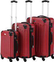 VonHaus 3 Piece Extra Strong ABS Luggage Set Red