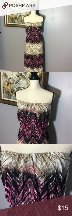 Strapless Chevron Print Maxi Dress Really pretty.  Excellent Used Condition.  Poly Spandex blend.  Size M (juniors) Trixxi Dresses Maxi