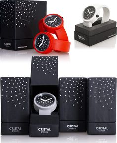 Crystal O clock watch packaging PD