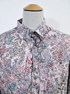 Vintage 1990s Crazy Print Paisley Floral Pattern Mod Shirt XL