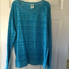 Blue Aztec sweater Blue Aztec PINK sweater. worn a few time but still in good condition. PINK Victoria's Secret Sweaters