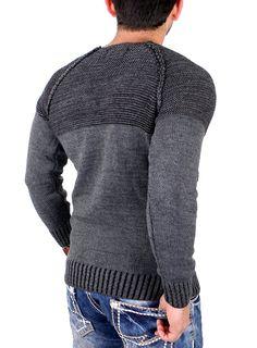 Reslad Strickpullover Herren Two Tone Rundhals Pullover Grobstrick RS-16081 Anthrazit S: Amazon.de: Bekleidung