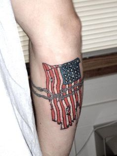 26 Glorious American Flag Tattoos to express your strong patriotism. Design Press is a gallery of endless tattoo designs and ideas, check it out now! Pretty Tattoos, Cool Tattoos, Lower Leg Tattoos, Skin Color Tattoos, Island Tattoo, Patriotic Tattoos, American Tattoos, Funny Tattoos, Large Tattoos