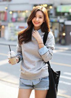 Cute. Sweater over button up and jean shorts. GG's tiny times ,korean street style [ 时尚起义 ] 中国最大网络服装品牌之一::::: shishangqiyi.com :::: www.AsianSkincare.Rocks ⭐️⭐️ www.SkincareInKorea.info