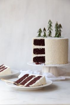 Classic chocolate cake with whipped white chocolate peppermint ganache and vanilla bean buttercream.