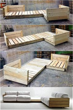An exceptional project ready to provide you a trendy and unique sitting arrangement. This elegant wooden pallet couch helps you out in beautiful interior designing. Along with providing enough seating, it also provides serving arrangement in the form of attached table. This undressed and rough wood is looking alluring even when its not given a complete look. #palletfurnitureeasy