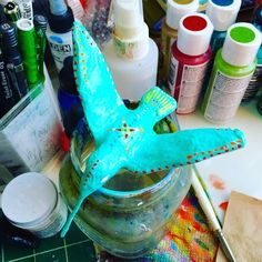 Painted Paper Mache Hummingbird by Liz Carlson Arts and Illustration, 2015