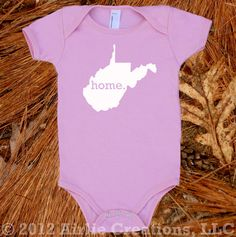 Homeland Tees - West Virginia Home Baby Onesie - available in blue, pink and grey.  $17.95, via Etsy.  #WVU #babyshower