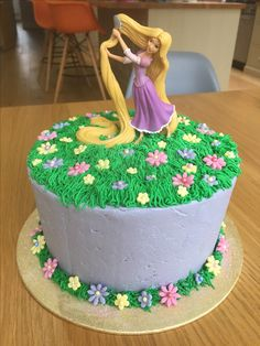 Rapunzel birthday cake (Cake topper from http://www.craftcompany.co.uk/disney-princess-rapunzel-cake-topper-decoration.html)