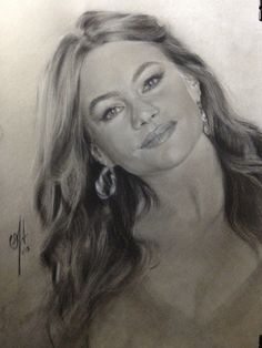 """""""Sofia Vergara""""  Life Size. Charcoal and White Chock on toned paper. 16"""" x 20"""""""