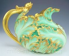 RARE-LARGE-LIMOGES-HAND-PAINTED-MOLDED-RELIEF-PITCHER