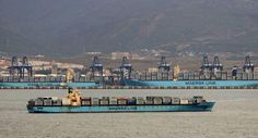 Maersk Gateshead, Maersk Salalah and Mary Maersk at the Port of Algeciras. (Image by David Michael Sanchez)