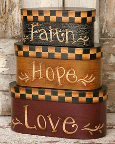 """NEW Faith Love Hope Nesting Boxes Total Height 9 1/2"""" Primitive Country"""