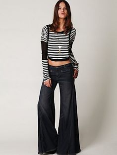 Free People FP Vintage Extreme Flare at Free People Clothing Boutique - StyleSays 70s Women Fashion, Boho Fashion, Denim Shop, Free People Jeans, Boho Pants, Wide Leg Jeans, Skinny Jeans, Flare Jeans, Vintage