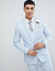 Find the best selection of ASOS DESIGN wedding super skinny suit jacket in ice blue micro texture. Shop today with free delivery and returns (Ts&Cs apply) with ASOS! Light Blue Tux, Light Blue Suit Wedding, Mens Light Blue Suit, Ice Blue Weddings, Chambelan, Wedding Tux, Men Wedding Attire, Wedding Dress, Wedding Rings