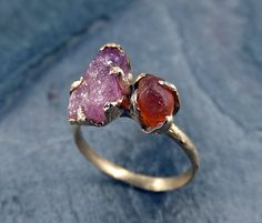 Raw gemstone Ring Pink Tourmaline Rough Orange Carnelian 14k Gold Ring Two stone Ring Raw gemstone jewelry byAngeline on Etsy, $695.00