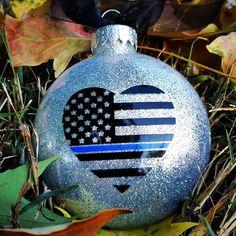 Thin blue line ornament thin blue line police gift police Vinyl Christmas Ornaments, Glitter Ornaments, Christmas Balls, Glass Ornaments, Ornaments Ideas, Blue Christmas, Family Christmas, Christmas Ideas, Christmas 2019
