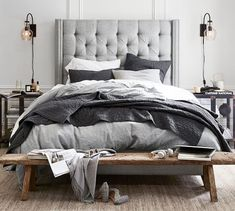 Need bedroom inspiration? Shop Pottery Barn for stylish bedroom furniture and decor. Create an warm and cozy bedroom oasis with quality bedding in classic styles and colors. Bedding Master Bedroom, Linen Bedroom, White Bedroom, Dream Bedroom, Furniture Decor, Bedroom Furniture, Bedroom Decor, Bedroom Ideas, Furniture Design