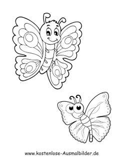 ausmalbild schmetterlinge auf löwenzahn zum kostenlosen ausdrucken und ausmalen für kinder.
