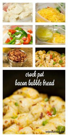 Crock Pot Bacon Bubble Bread - Recipes That Crock! Crock Pot Bread, Slow Cooker Bread, Crock Pot Slow Cooker, Crock Pot Cooking, Easy Cooking, Slow Cooker Recipes, Crockpot Recipes, Cooking Recipes, Bread Crockpot