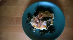 Pumpkin risotto with seared chicken and kale