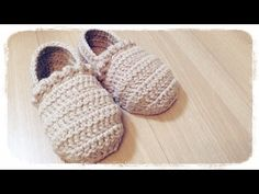 How to crochet a slippers (1/3) ルームシューズの編み方 by meetang - YouTube