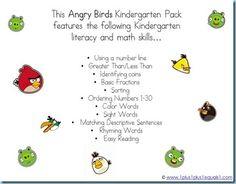 Angry Birds Kindergarten Printables