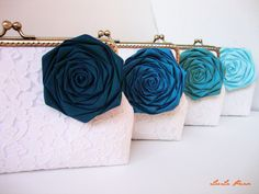 Personalize your own wedding clutch purse - perfect summer wedding colors with set of 4 clutches with roses. $190.00, via Etsy.