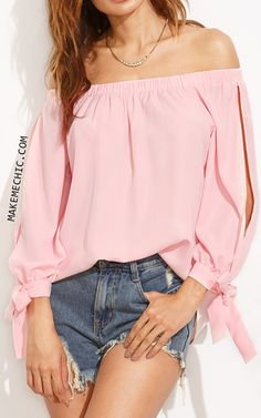 73be28147c7 Pink Split Sleeve Tie Cuff Off The Shoulder Blouse Shirt Blouses
