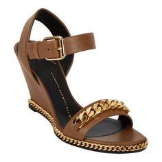 Perfect brown wedge for the woman who loves gold hardware.   Evaluate.Shop.Style. www.ChristinaStyles.com  Giuseppe Zanotti Cuban Link Wedge Sandals at Barneys.com